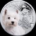 Srebrna Moneta - West Highland White Terrier,1 dolar, Seria: Przyjaciele Człowieka – Psy